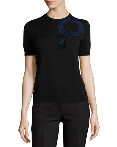 Short-Sleeve Patchwork Top, Black/Blue