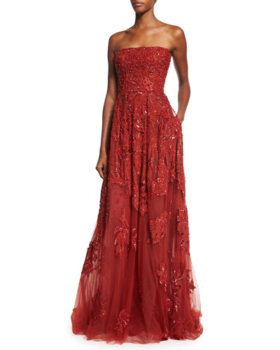 Embroidered Strapless Silk-Blend Gown, Cadillac