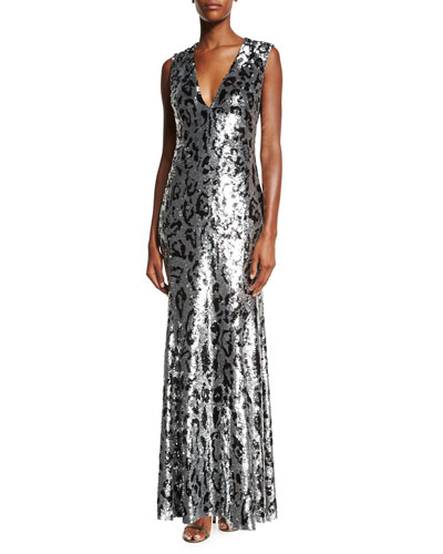 Sleeveless Sequined Leopard-Print Gown