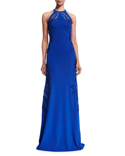 Leaf-Embellished Open-Back Halter Gown, Blue