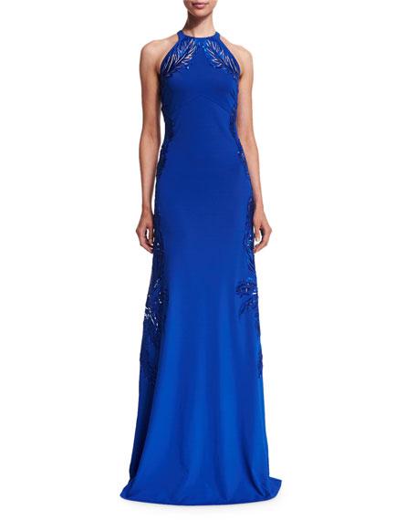 Leaf-Embellished Open-Back Halter Gown, Blue