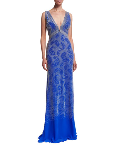 Sleeveless Leaf-Embroidered Gown, Blue