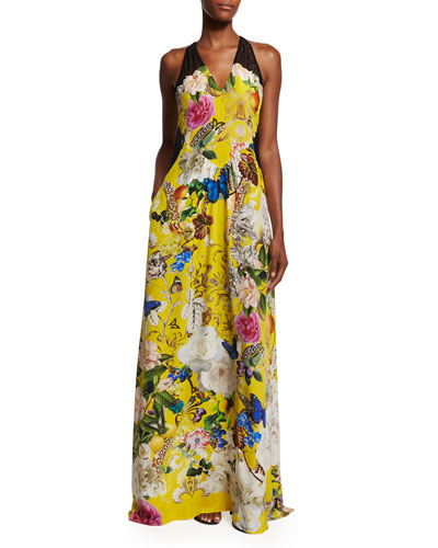 Sleeveless Floral-Print Silk Crepe Gown, Yellow
