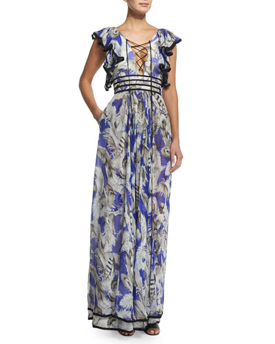 Ruffle-Sleeve Silk Chiffon Lace-Front Gown, Blue