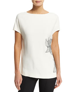 Short-Sleeve Scoop-Back Cady Top, White