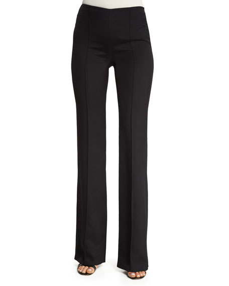 High-Waist Flare-Leg Cady Pants, Black