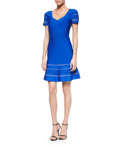 Short-Sleeve Crisscross Bandage Dress, Blue