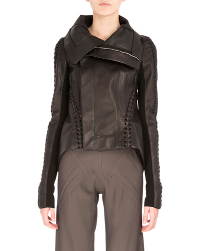 Tailback Leather Biker Jacket, Black