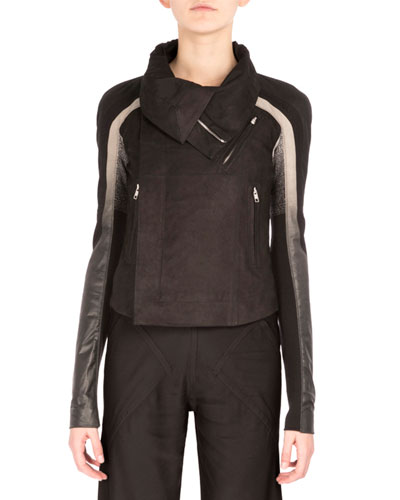 Tricolor Leather Biker Jacket, Black