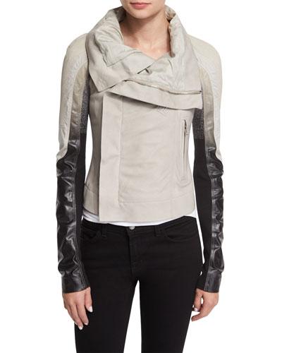 Colorblock Zip-Front Biker Jacket, Pearl