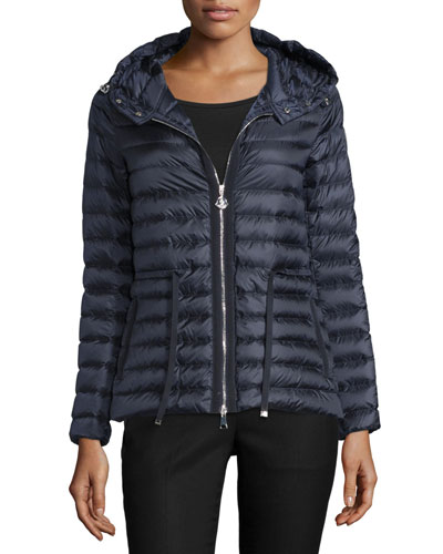 Hooded Nylon Drawstring Jacket, Navy