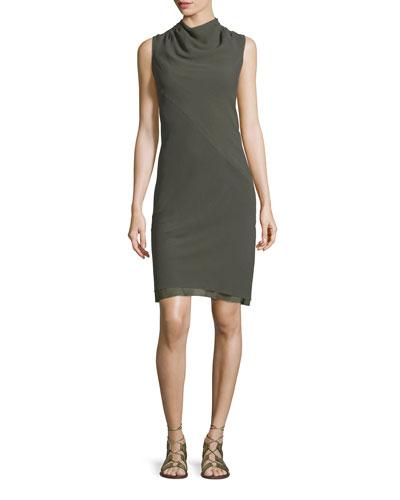 Bonnie Silk Cowl-Neck Dress, Army