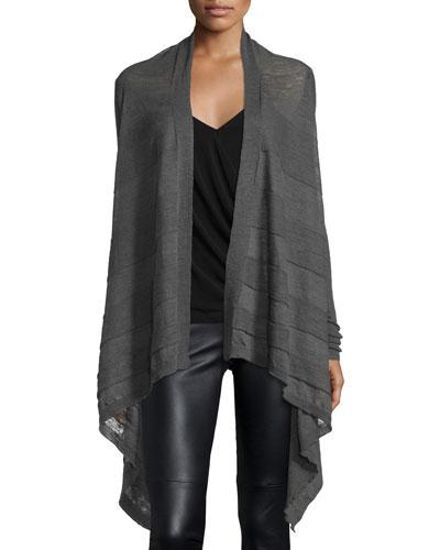 Ribbed Mid-Length Knit Cardigan, Dark dust