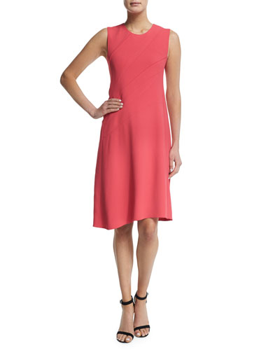 Sleeveless Asymmetric-Seamed Dress, Pink
