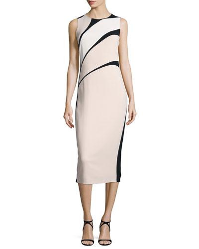 Sleeveless Bicolor Crepe Sheath Dress, Black/Pink