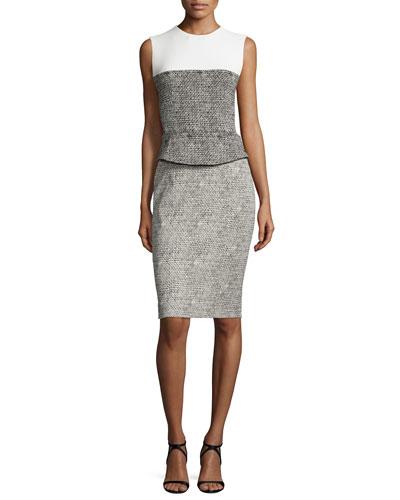 Sleeveless Jacquard Peplum Dress, Black
