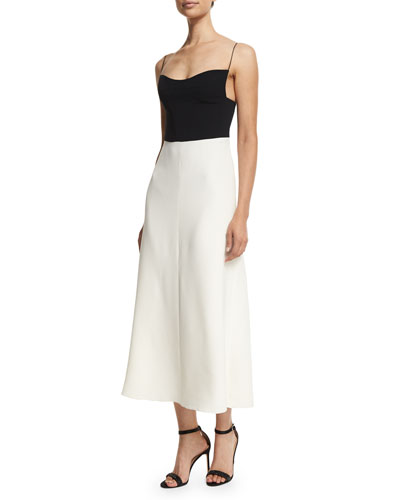Spaghetti-Strap Bicolor Silk-Crepe Dress, Black/White