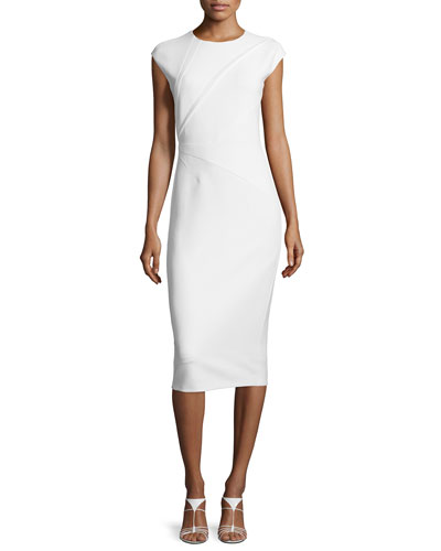 Darted Knit Cap-Sleeve Dress, White