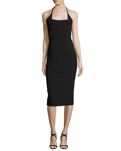 Square-Neck Halter Scuba Dress, Black