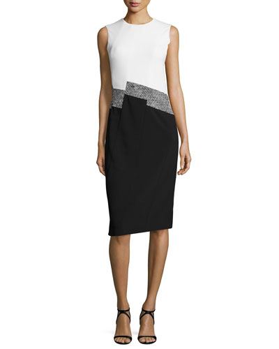 Sleeveless Colorblock Knit Dress, Black/White