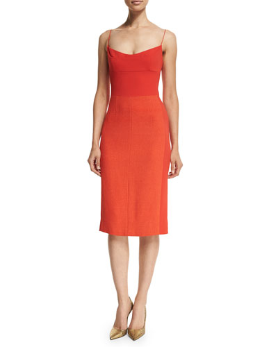 Wool-Crepe Spaghetti-Strap Dress, Red