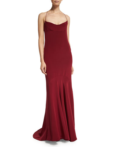 Sleeveless Silk Chemise Open-Back Gown, Crimson
