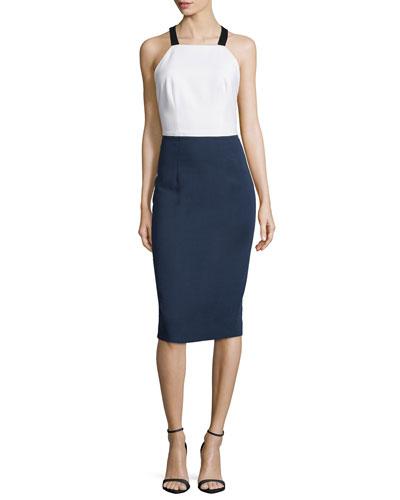 Colorblock Apron-Front Dress, Navy