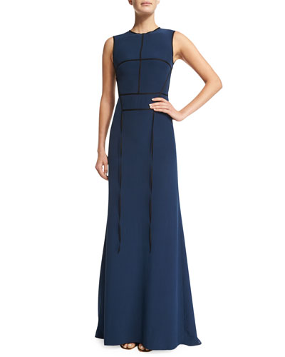Sleeveless Silk-Crepe Taping Gown, Black/Navy