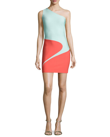 One-Shoulder Curved Colorblock Dress, Coral/Seafoam
