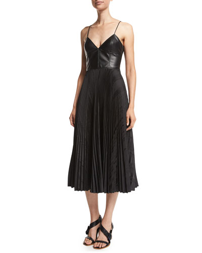 Faux-Leather Pleated Skirt Dress, Black