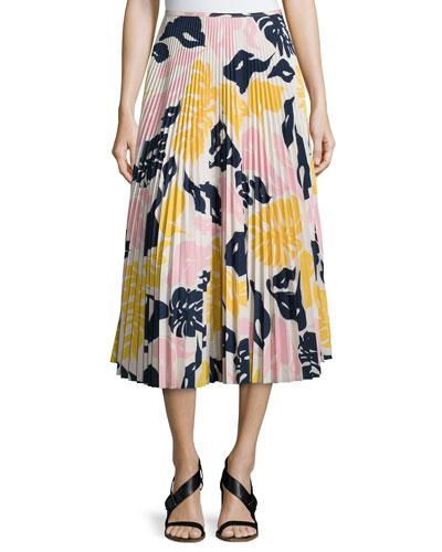 Floral-Print Pleated Crepe Midi Skirt, Multi