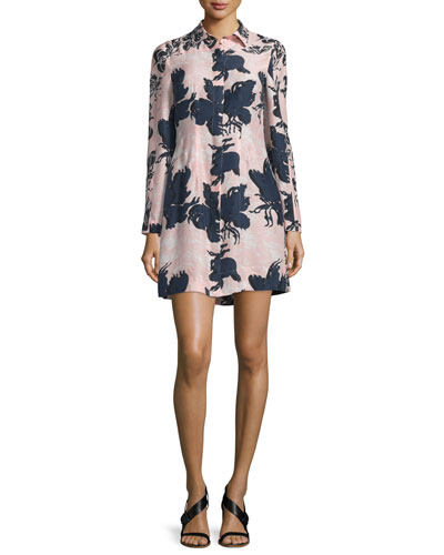 Floral-Print Long-Sleeve Georgette Shirtdress, Pink/Navy
