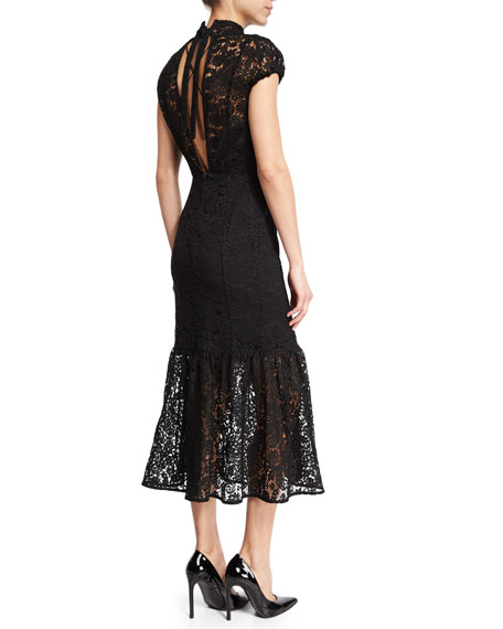 Victoria Beckham Cap Sleeve Mock Neck Lace Midi Dress Black