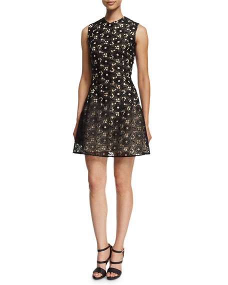 Sleeveless High-Neck Floral-Lace Dress, Black