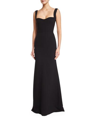 Double-Crepe Sleeveless Sweetheart Gown, Black