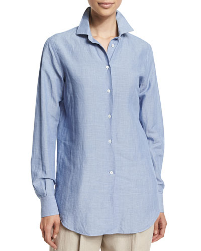 Kara Chambray Button-Down Top, Bleached Azure
