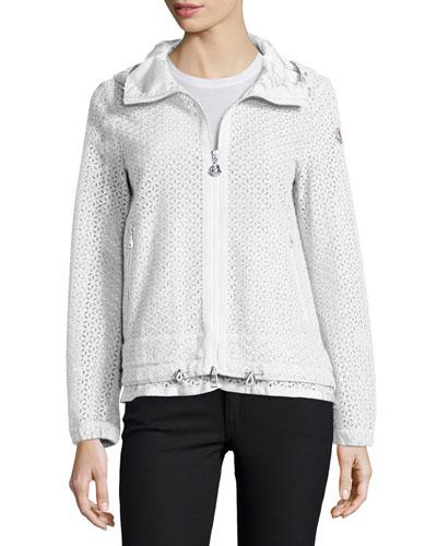 Zip-Front Cotton-Eyelet Jacket, White