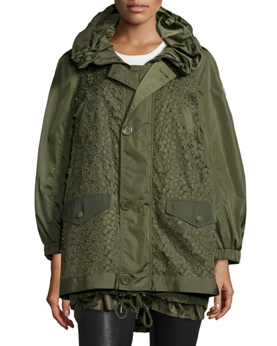 Fougere Oversized Floral-Applique Coat, Military