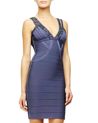 Sleeveless Studded Bandage Dress, Blue