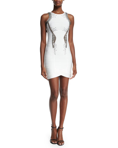 Racerback Embellished Tank Dress, Alabaster