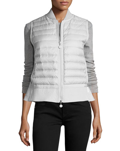 Quilted Nylon Trapeze Vest, White