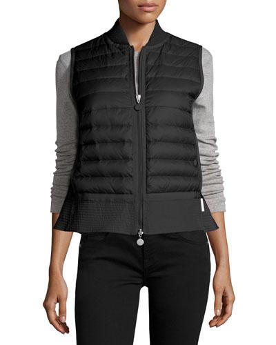 Quilted Nylon Trapeze Vest, Black