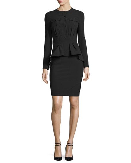 Tom Ford Long Sleeve Stretch Wool Peplum Dress Black