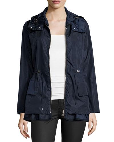 Long-Sleeve Drawstring Nylon Jacket, Navy
