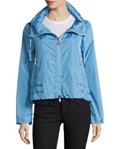 Allache Short Zip-Hood Jacket, Sky Blue