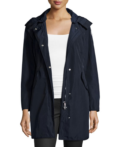 Argeline Long-Sleeve Zip-Front Coat, Midnight