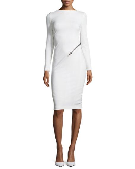 Long-Sleeve Open-Back Dress w/Zip, Chalk