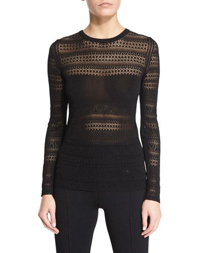 Long-Sleeve Pointelle Knit Top, Black