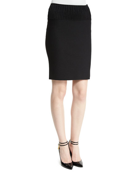 Ribbed Stretch-Knit Pencil Skirt, Black
