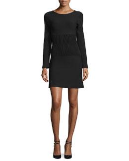 Long-Sleeve Ribbed Scoop-Back Dress, Black
